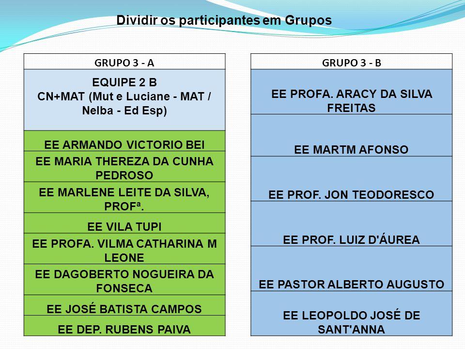 Dividir os participantes em Grupos GRUPO 3 - A EQUIPE 2 B CN+MAT (Mut e Luciane - MAT / Nelba - Ed Esp) EE ARMANDO VICTORIO BEI EE MARIA THEREZA DA CU
