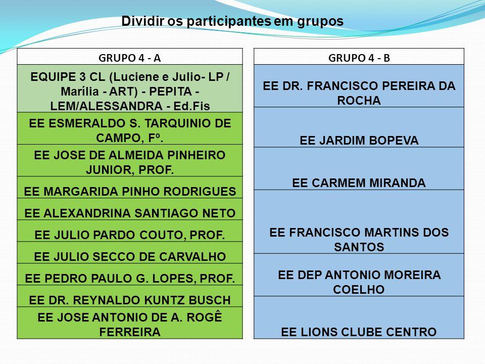 Dividir os participantes em grupos GRUPO 4 - A EQUIPE 3 CL (Luciene e Julio- LP / Marília - ART) - PEPITA - LEM/ALESSANDRA - Ed.Fis EE ESMERALDO S. TA