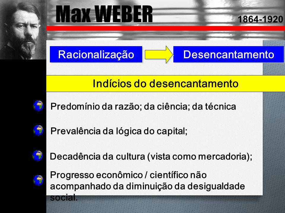Max WEBER 1864-1920 Racionalização Desencantamento Predomínio da razão; da ciência; da técnica Prevalência da lógica do capital; Decadência da cultura