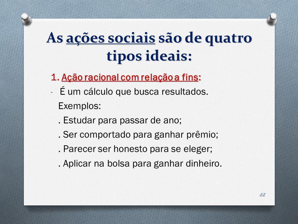 As ações sociais são de quatro tipos ideais: Ação racional com relação a fins: 1. Ação racional com relação a fins: - É um cálculo que busca resultado