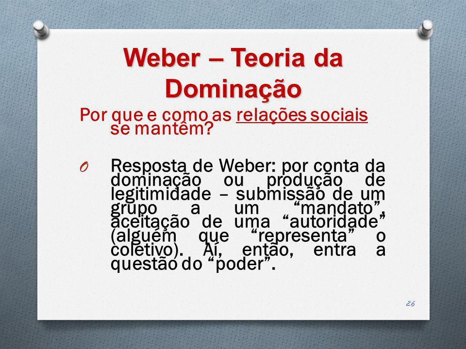 Weber – Teoria da Dominação Por que e como as relações sociais se mantêm? O Resposta de Weber: por conta da dominação ou produção de legitimidade – su