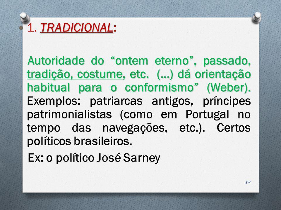 TRADICIONAL 1. TRADICIONAL: Autoridade do ontem eterno, passado, tradição, costume, etc. (...) dá orientação habitual para o conformismo (Weber). Auto