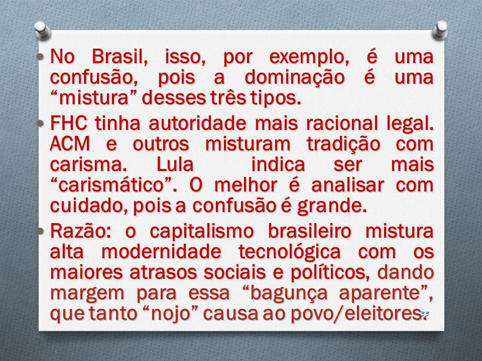 No Brasil, isso, por exemplo, é uma confusão, pois a dominação é uma mistura desses três tipos. No Brasil, isso, por exemplo, é uma confusão, pois a d