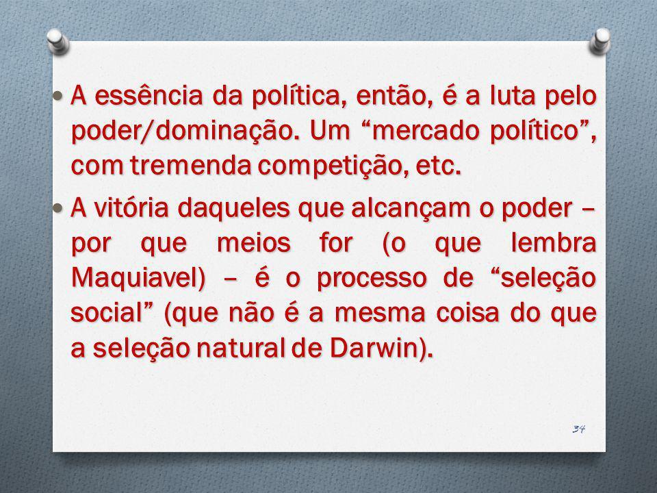 A essência da política, então, é a luta pelo poder/dominação. Um mercado político, com tremenda competição, etc. A essência da política, então, é a lu