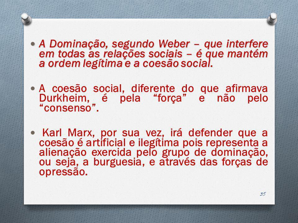 A Dominação, segundo Weber – que interfere em todas as relações sociais – é que mantém a ordem legítima e a coesão social. A Dominação, segundo Weber