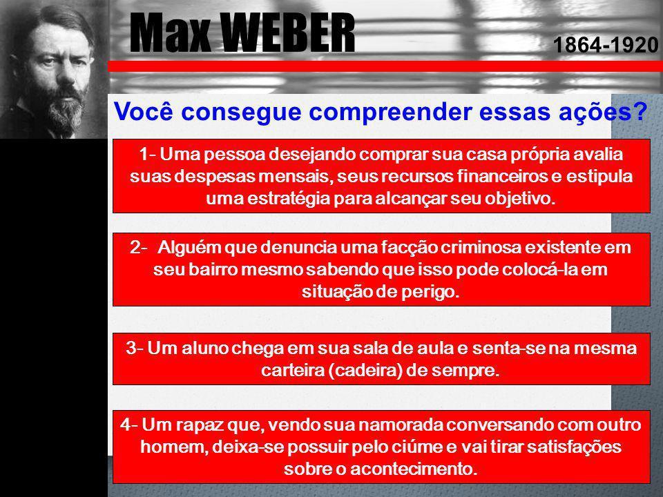 Max WEBER 1864-1920 Você consegue compreender essas ações? 1- Uma pessoa desejando comprar sua casa própria avalia suas despesas mensais, seus recurso