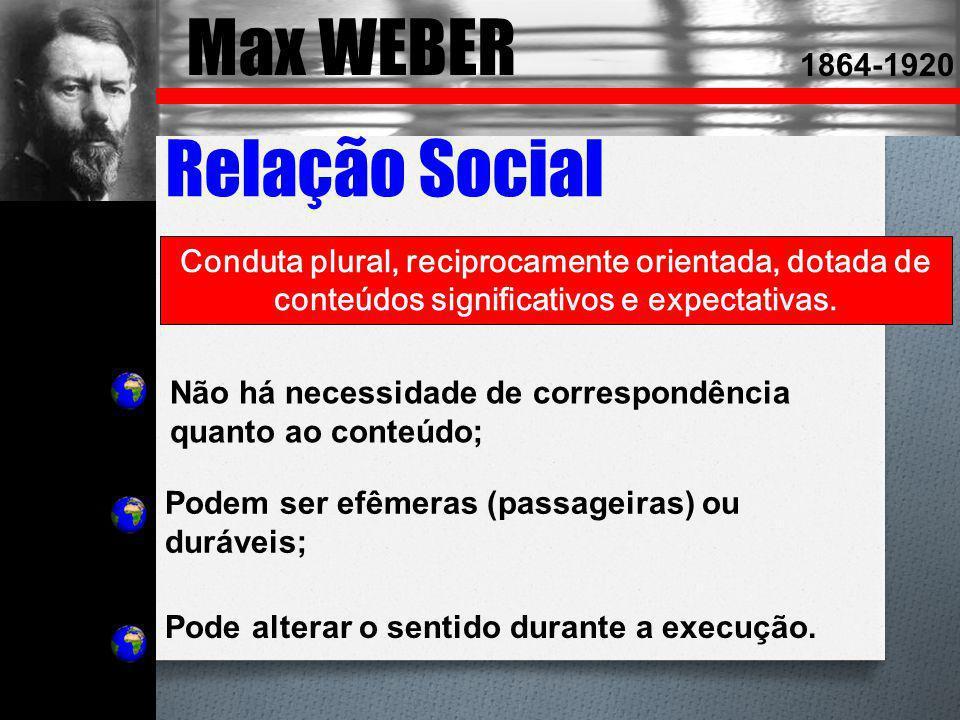 Max WEBER 1864-1920 Relação Social Conduta plural, reciprocamente orientada, dotada de conteúdos significativos e expectativas. Não há necessidade de