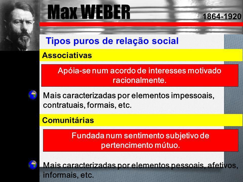 Max WEBER 1864-1920 Tipos puros de relação social Associativas Apóia-se num acordo de interesses motivado racionalmente. Comunitárias Fundada num sent