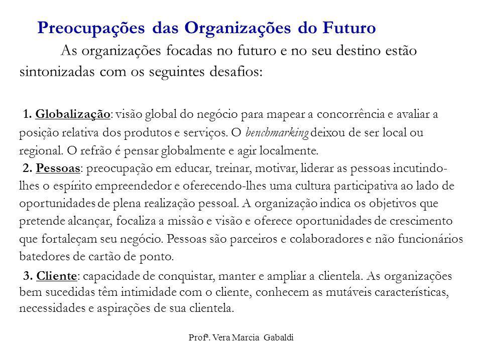 As organizações focadas no futuro e no seu destino estão sintonizadas com os seguintes desafios: 1. Globalização: visão global do negócio para mapear