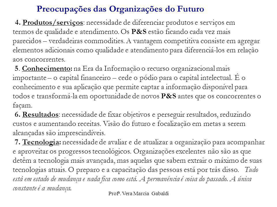 Preocupações das Organizações do Futuro 4. Produtos/serviços: necessidade de diferenciar produtos e serviços em termos de qualidade e atendimento. Os