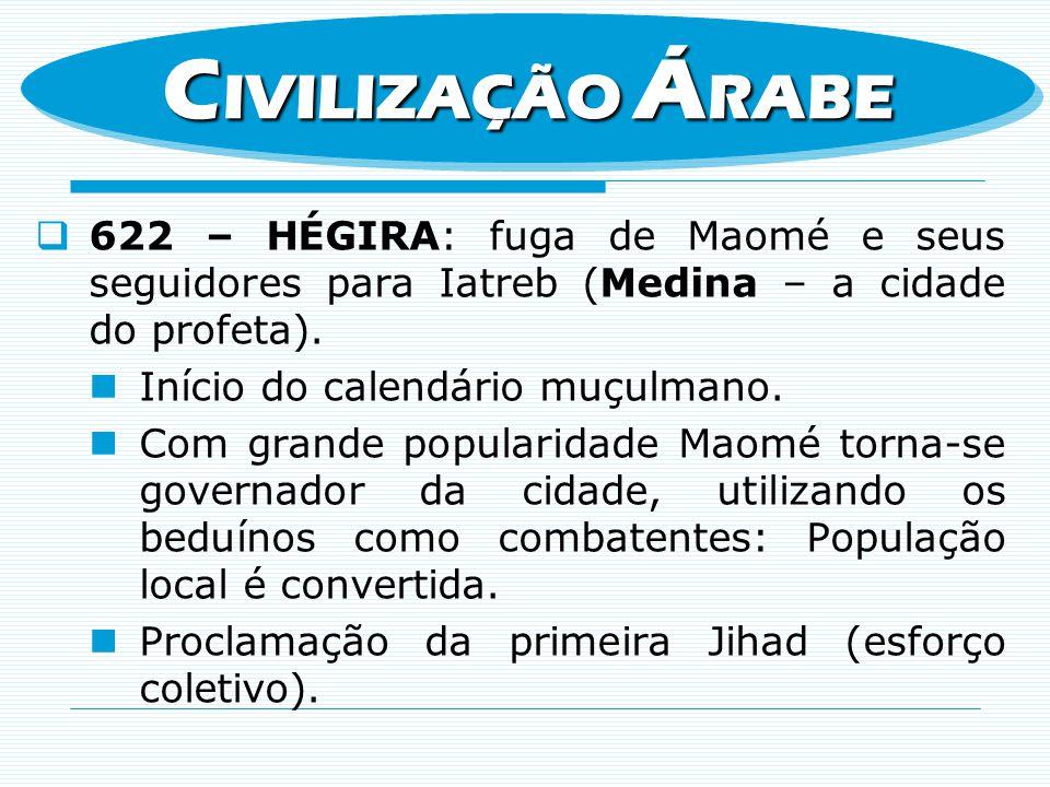 622 – HÉGIRA: fuga de Maomé e seus seguidores para Iatreb (Medina – a cidade do profeta). Início do calendário muçulmano. Com grande popularidade Maom
