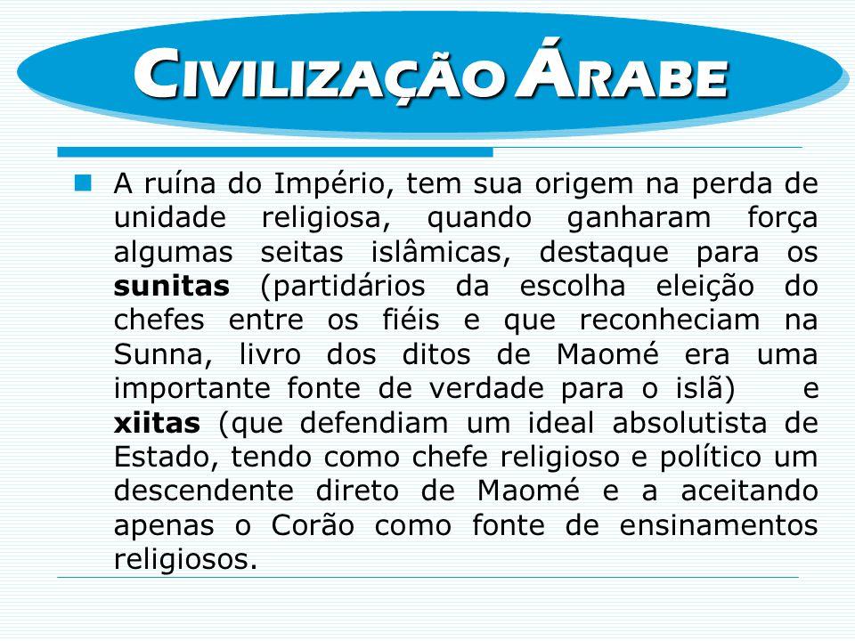 A ruína do Império, tem sua origem na perda de unidade religiosa, quando ganharam força algumas seitas islâmicas, destaque para os sunitas (partidário