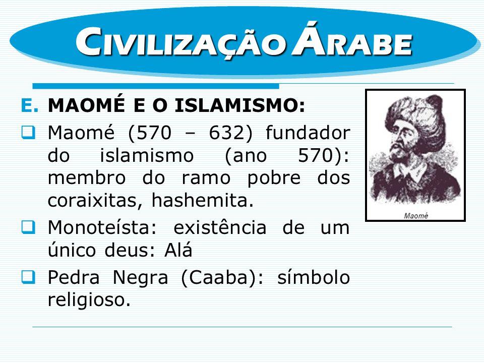E.MAOMÉ E O ISLAMISMO: Maomé (570 – 632) fundador do islamismo (ano 570): membro do ramo pobre dos coraixitas, hashemita. Monoteísta: existência de um