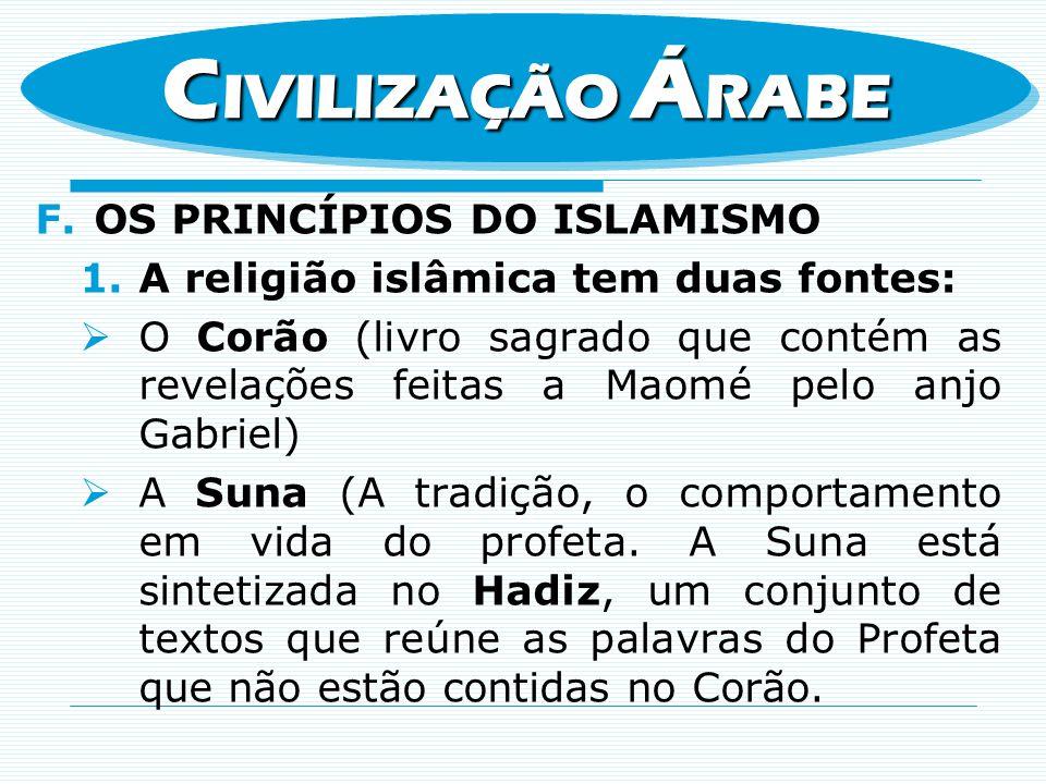F.OS PRINCÍPIOS DO ISLAMISMO 1.A religião islâmica tem duas fontes: O Corão (livro sagrado que contém as revelações feitas a Maomé pelo anjo Gabriel)