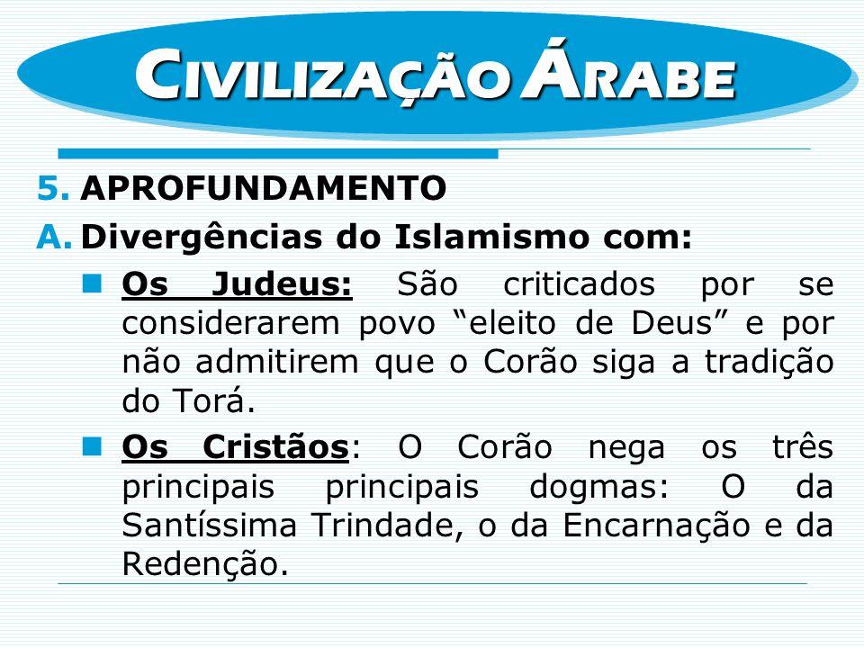 5.APROFUNDAMENTO A.Divergências do Islamismo com: Os Judeus: São criticados por se considerarem povo eleito de Deus e por não admitirem que o Corão si