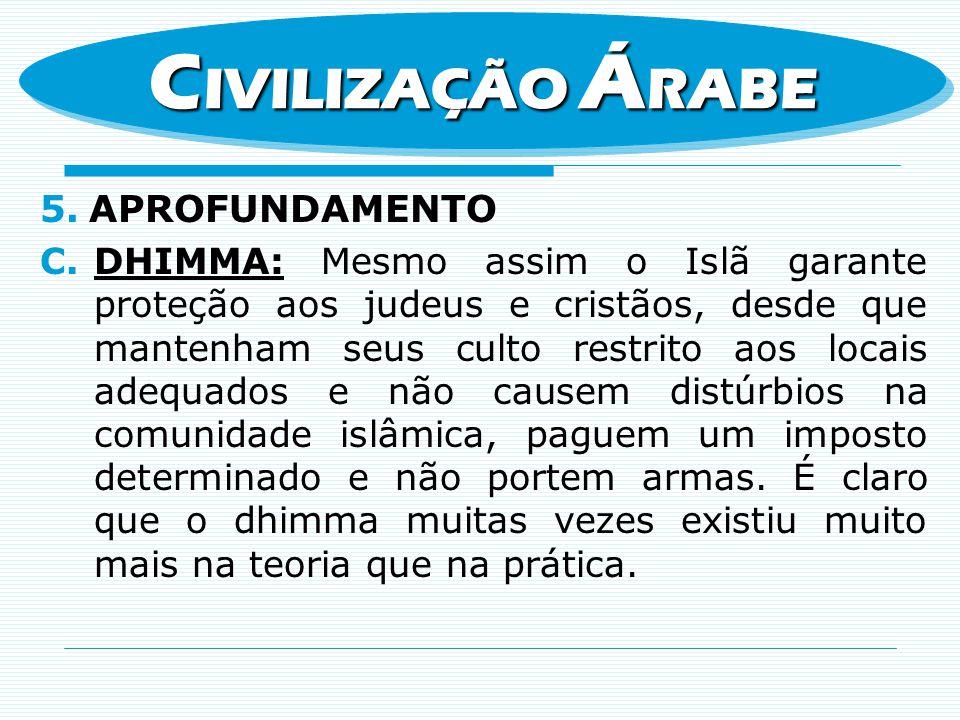 5.APROFUNDAMENTO C.DHIMMA: Mesmo assim o Islã garante proteção aos judeus e cristãos, desde que mantenham seus culto restrito aos locais adequados e n