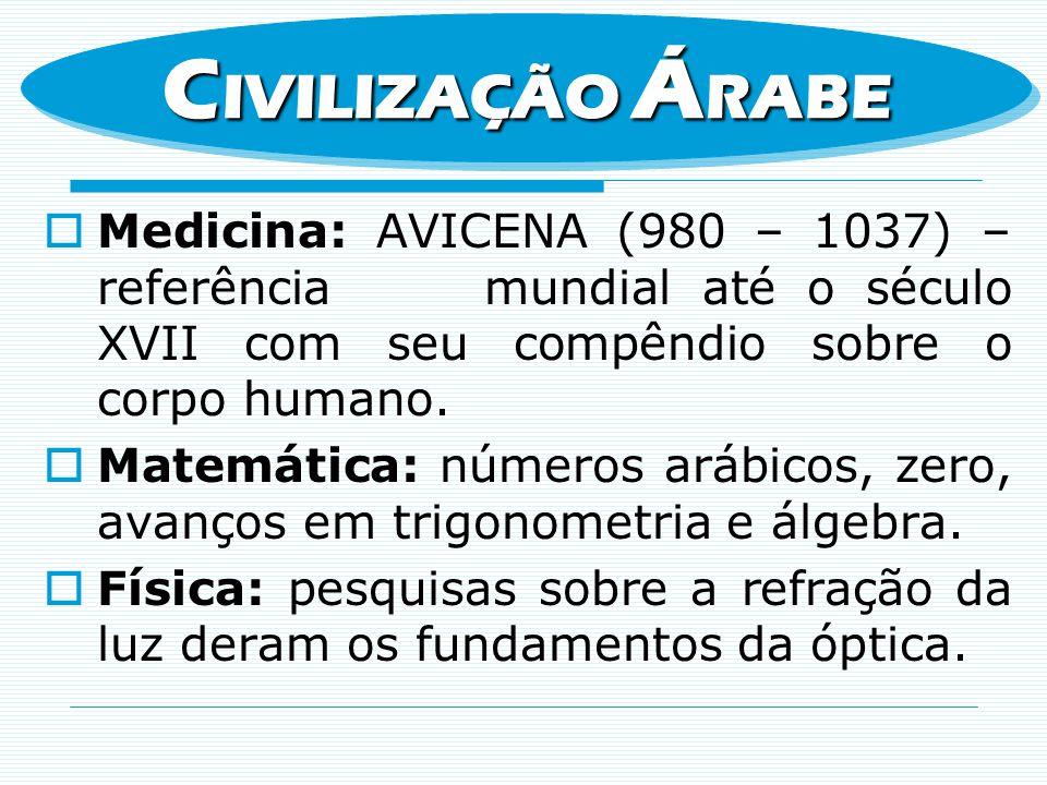 Medicina: AVICENA (980 – 1037) – referência mundial até o século XVII com seu compêndio sobre o corpo humano. Matemática: números arábicos, zero, avan