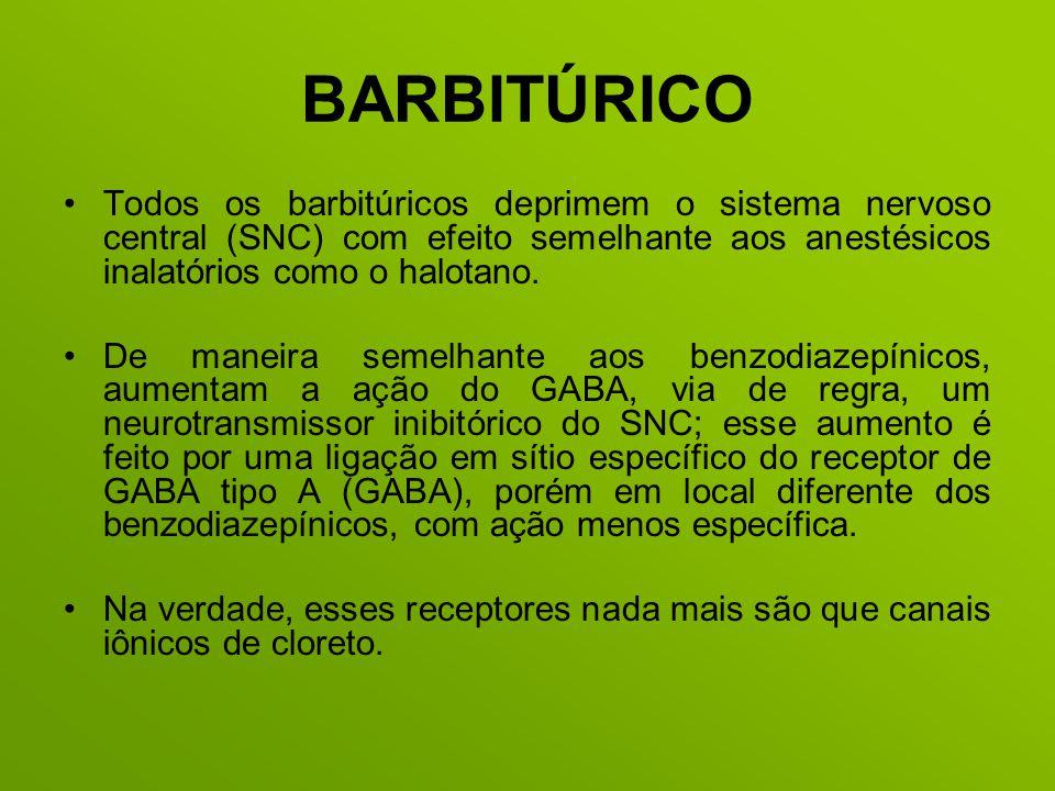 BARBITÚRICO Todos os barbitúricos deprimem o sistema nervoso central (SNC) com efeito semelhante aos anestésicos inalatórios como o halotano. De manei