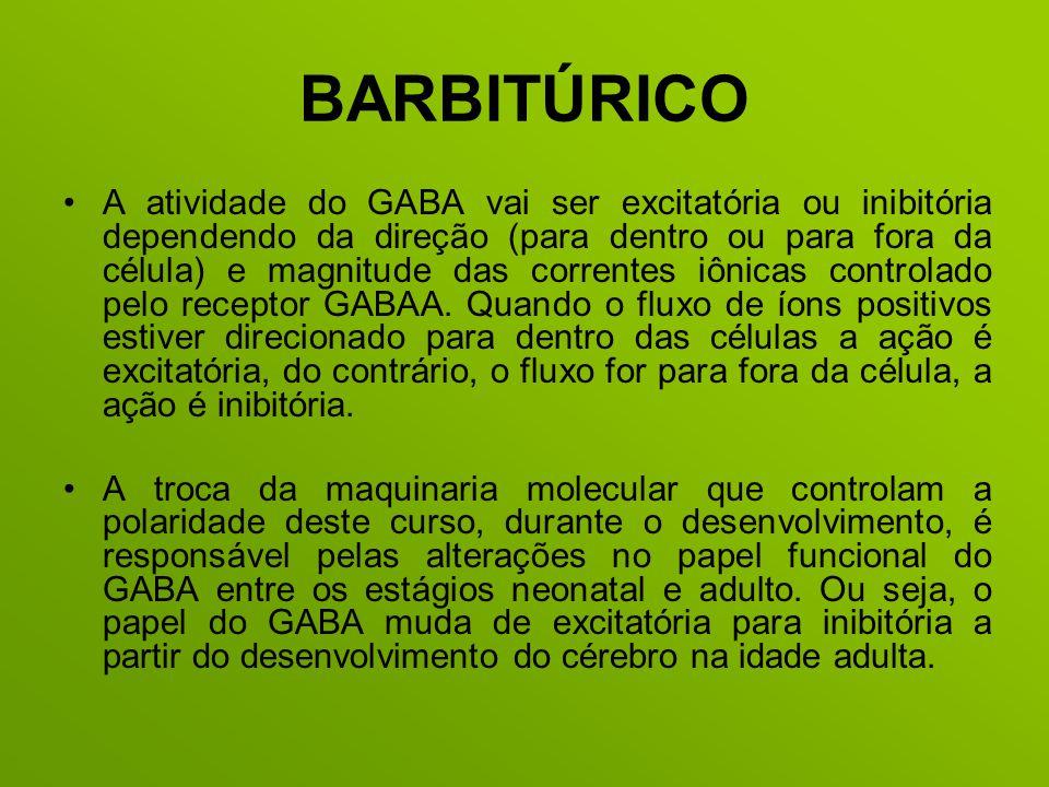 BARBITÚRICO A atividade do GABA vai ser excitatória ou inibitória dependendo da direção (para dentro ou para fora da célula) e magnitude das correntes