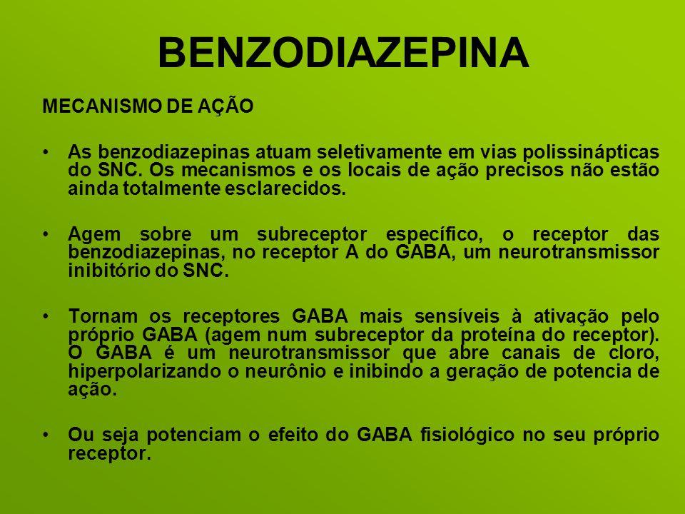 BENZODIAZEPINA MECANISMO DE AÇÃO As benzodiazepinas atuam seletivamente em vias polissinápticas do SNC. Os mecanismos e os locais de ação precisos não