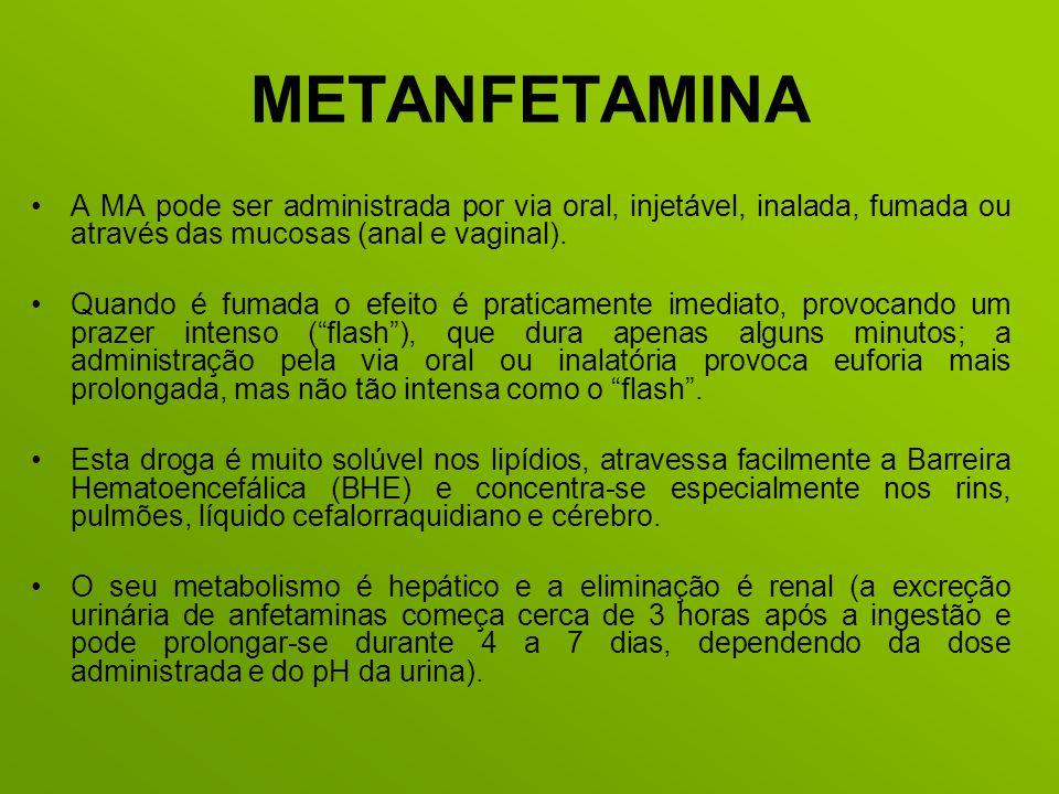 METANFETAMINA A MA pode ser administrada por via oral, injetável, inalada, fumada ou através das mucosas (anal e vaginal). Quando é fumada o efeito é