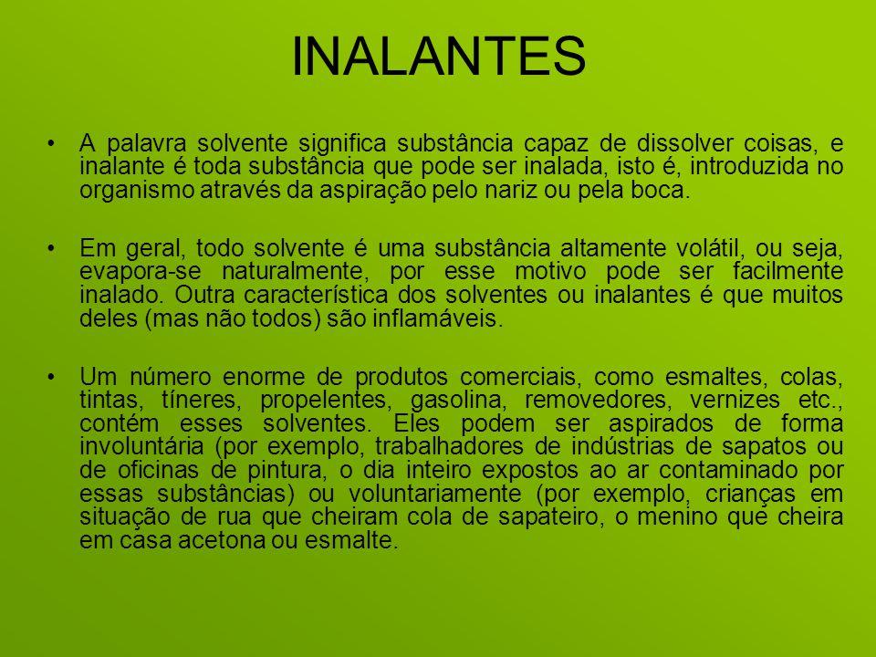 INALANTES A palavra solvente significa substância capaz de dissolver coisas, e inalante é toda substância que pode ser inalada, isto é, introduzida no