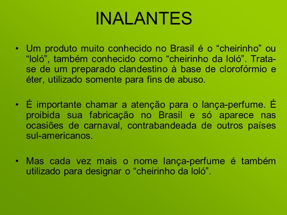 INALANTES Um produto muito conhecido no Brasil é o cheirinho ou loló, também conhecido como cheirinho da loló. Trata- se de um preparado clandestino à