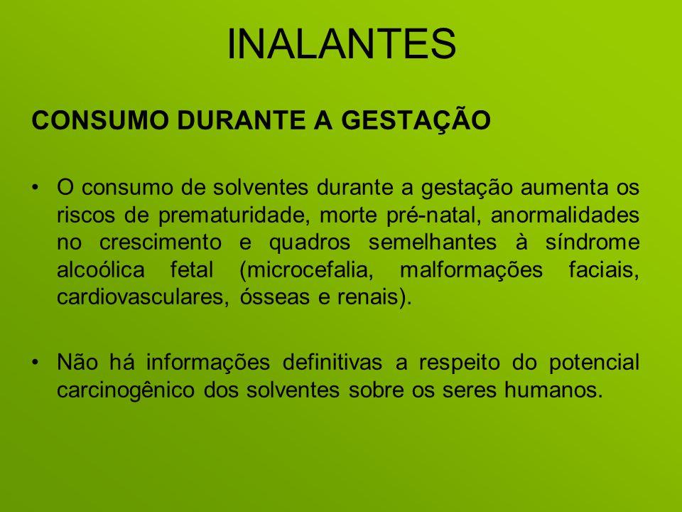INALANTES CONSUMO DURANTE A GESTAÇÃO O consumo de solventes durante a gestação aumenta os riscos de prematuridade, morte pré-natal, anormalidades no c