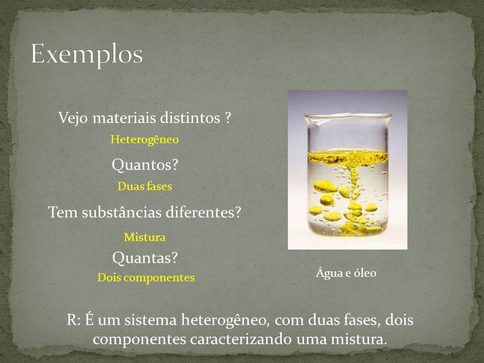 Água e óleo Vejo materiais distintos ? Tem substâncias diferentes? Heterogêneo Mistura Quantos? Duas fases Quantas? Dois componentes R: É um sistema h