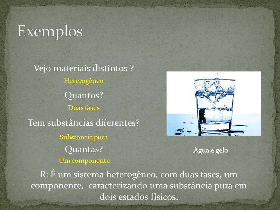 Água e gelo Vejo materiais distintos ? Tem substâncias diferentes? Heterogêneo Substância pura Quantos? Duas fases Quantas? Um componente R: É um sist