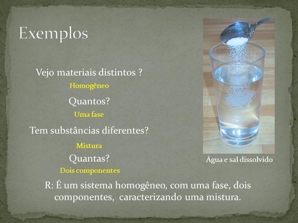 Água e sal dissolvido Vejo materiais distintos ? Tem substâncias diferentes? Homogêneo Mistura Quantos? Uma fase Quantas? Dois componentes R: É um sis