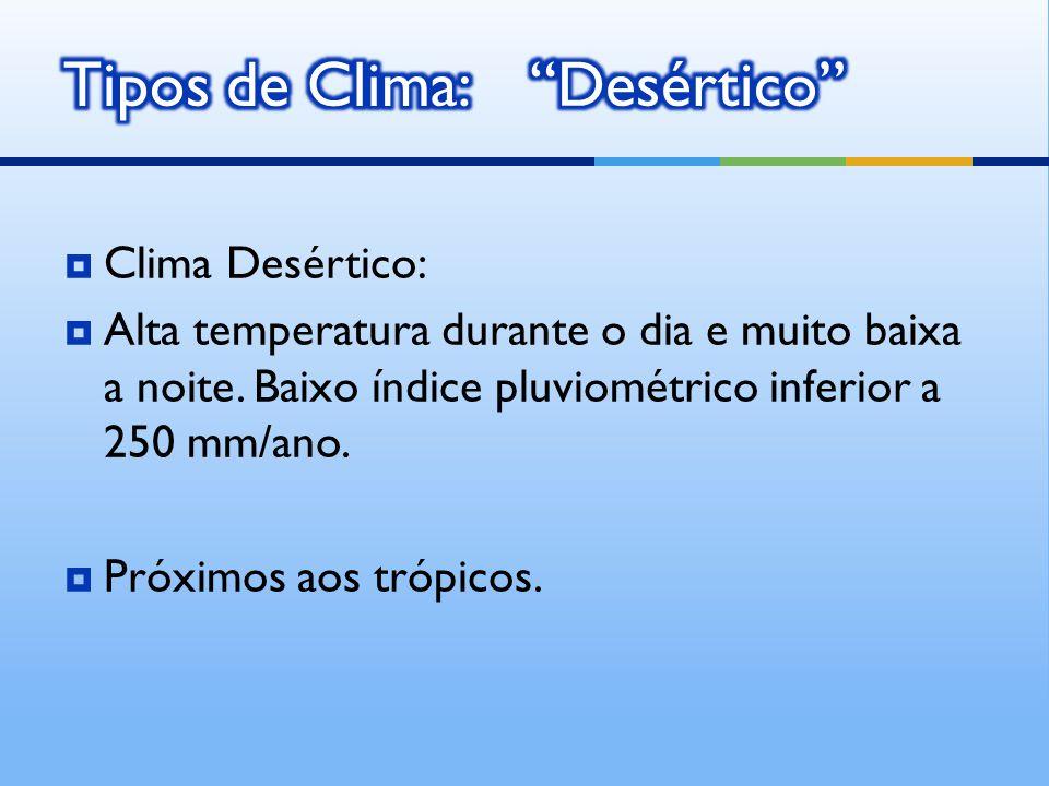 Clima Desértico: Alta temperatura durante o dia e muito baixa a noite.