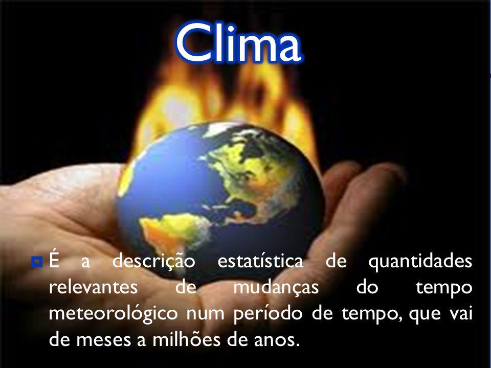 É a descrição estatística de quantidades relevantes de mudanças do tempo meteorológico num período de tempo, que vai de meses a milhões de anos.