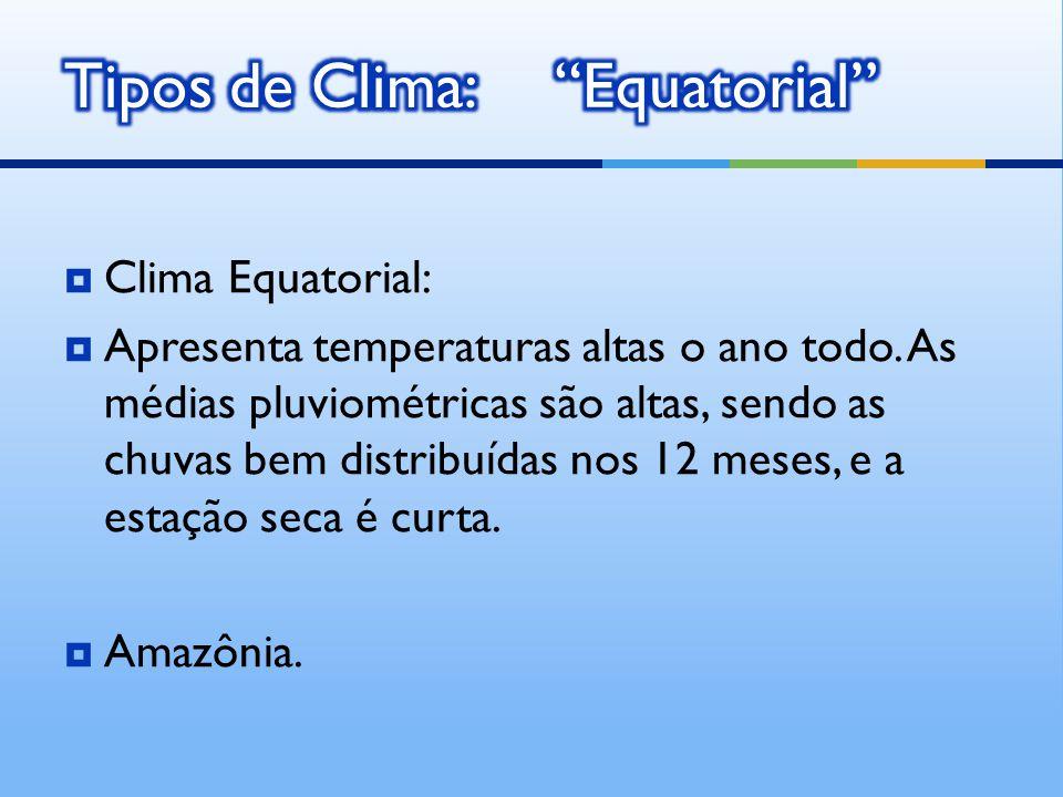 Clima Equatorial: Apresenta temperaturas altas o ano todo.