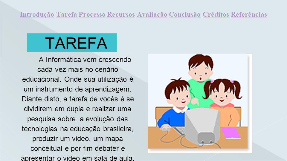 TAREFA A Informática vem crescendo cada vez mais no cenário educacional. Onde sua utilização é um instrumento de aprendizagem. Diante disto, a tarefa