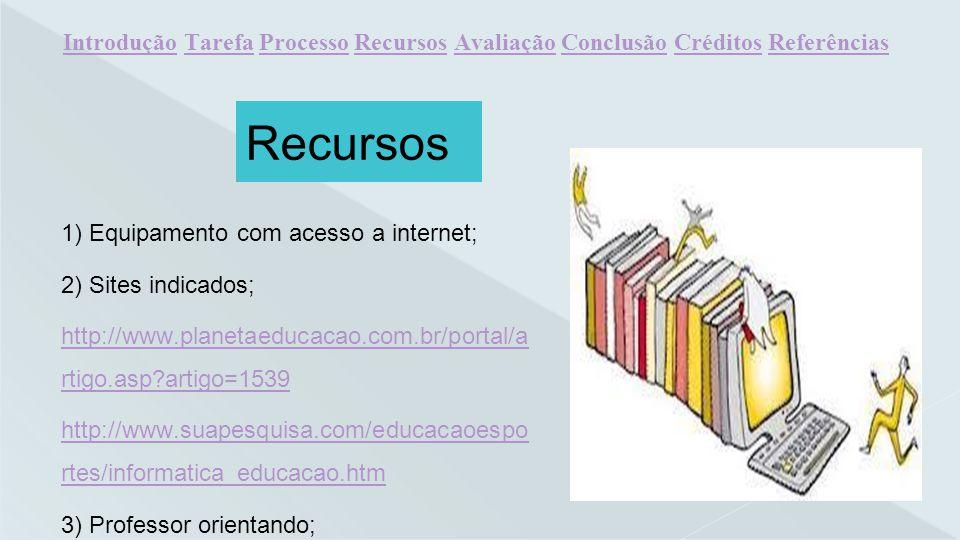 1) Equipamento com acesso a internet; 2) Sites indicados; http://www.planetaeducacao.com.br/portal/a rtigo.asp?artigo=1539 http://www.suapesquisa.com/