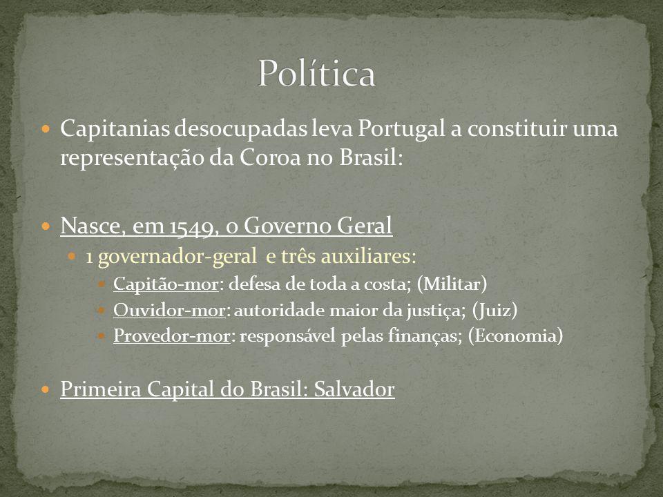 Capitanias desocupadas leva Portugal a constituir uma representação da Coroa no Brasil: Nasce, em 1549, o Governo Geral 1 governador-geral e três auxi
