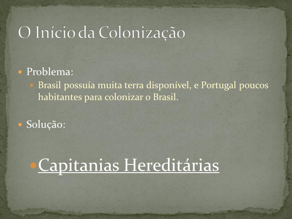 Problema: Brasil possuía muita terra disponível, e Portugal poucos habitantes para colonizar o Brasil. Solução: Capitanias Hereditárias