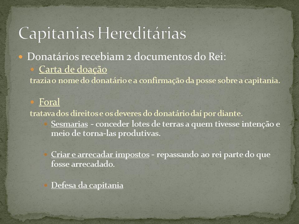 Donatários recebiam 2 documentos do Rei: Carta de doação trazia o nome do donatário e a confirmação da posse sobre a capitania. Foral tratava dos dire
