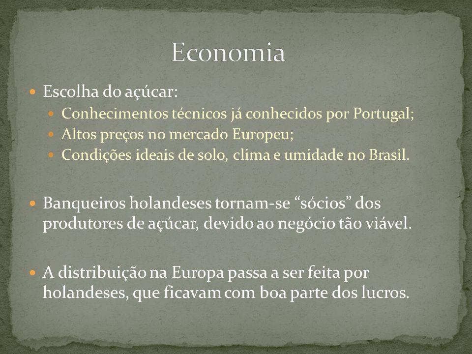 Escolha do açúcar: Conhecimentos técnicos já conhecidos por Portugal; Altos preços no mercado Europeu; Condições ideais de solo, clima e umidade no Br