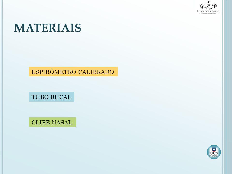 MATERIAIS ESPIRÔMETRO CALIBRADO TUBO BUCAL CLIPE NASAL