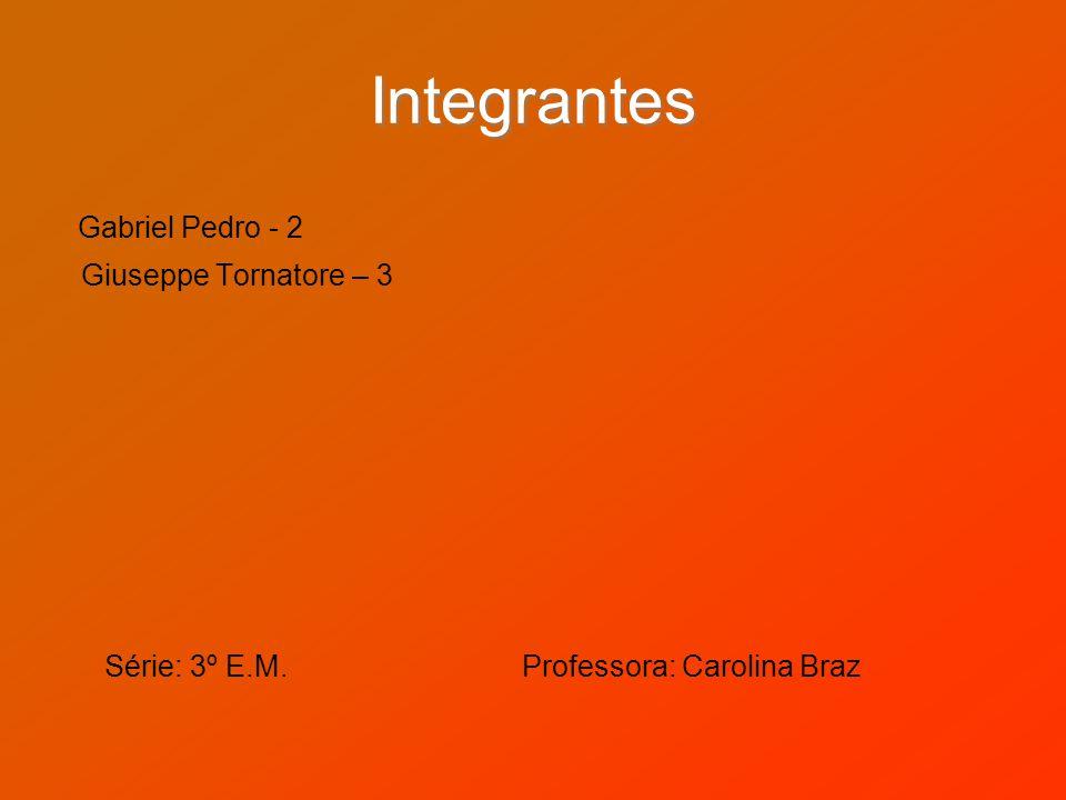 Integrantes Gabriel Pedro - 2 Giuseppe Tornatore – 3 Série: 3º E.M. Professora: Carolina Braz
