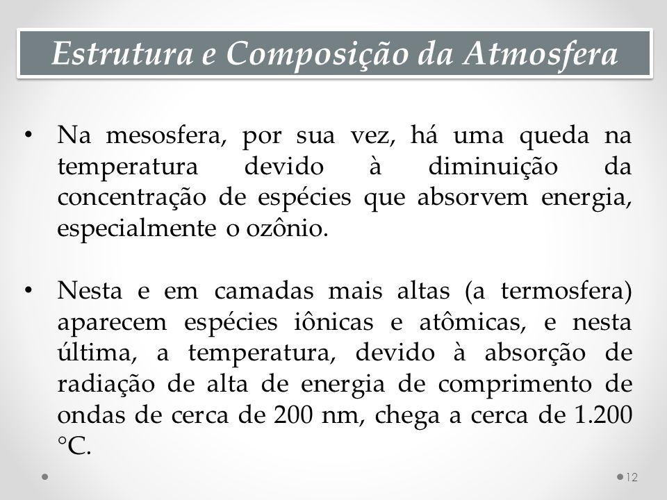 Estrutura e Composição da Atmosfera Na mesosfera, por sua vez, há uma queda na temperatura devido à diminuição da concentração de espécies que absorvem energia, especialmente o ozônio.
