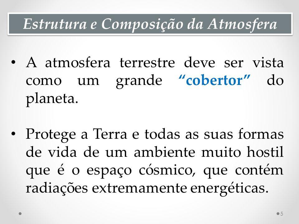 Estrutura e Composição da Atmosfera A atmosfera terrestre deve ser vista como um grande cobertor do planeta.