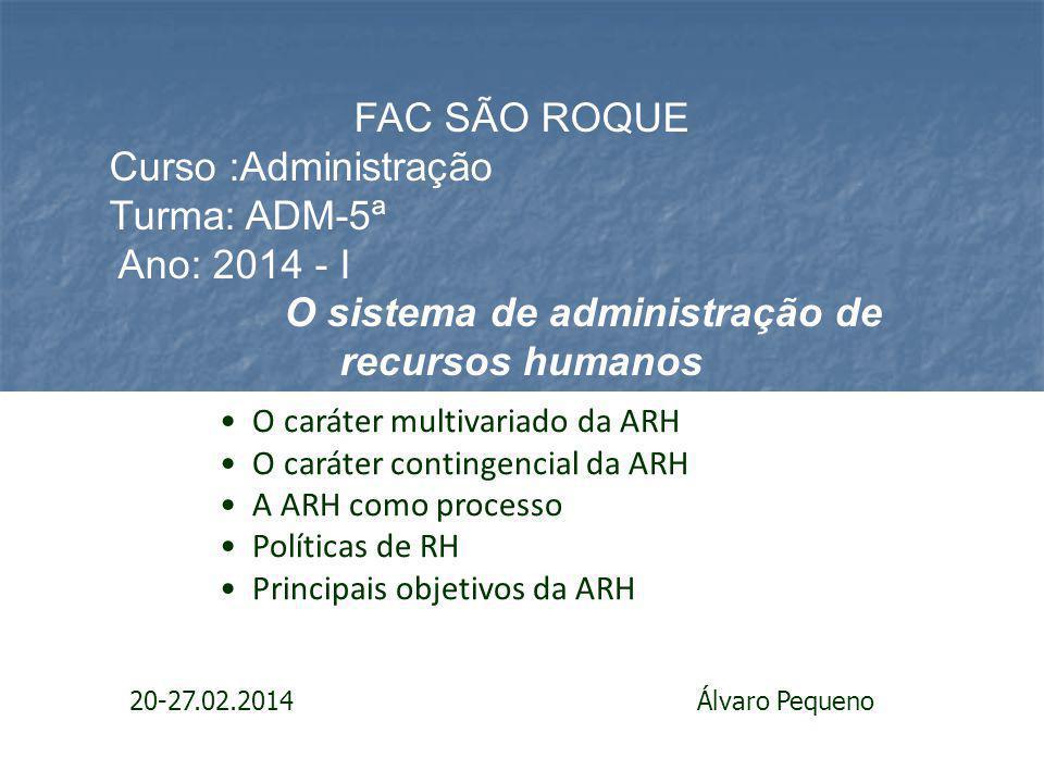 O caráter multivariado da ARH O caráter contingencial da ARH A ARH como processo Políticas de RH Principais objetivos da ARH 20-27.02.2014Álvaro Peque