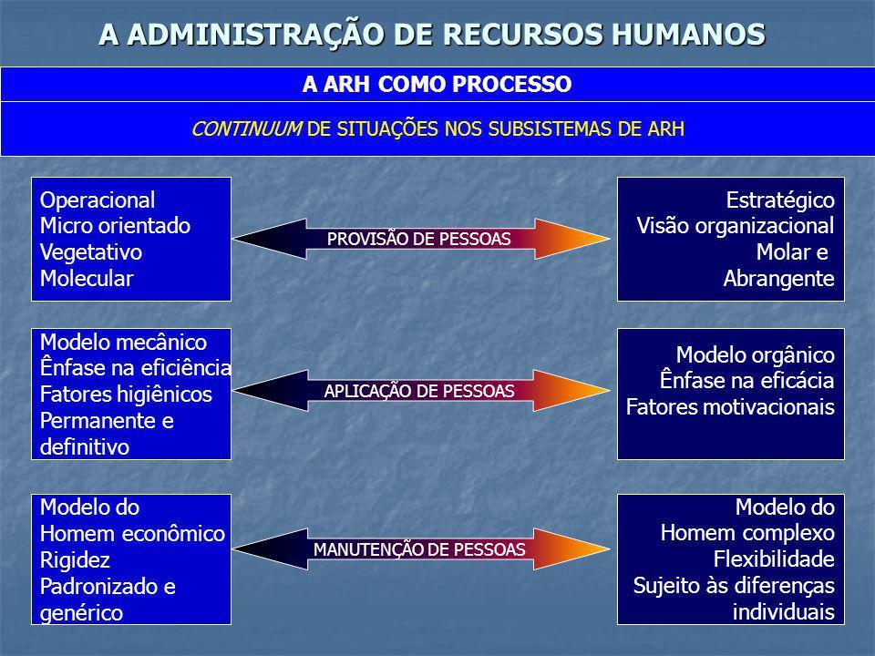 A ADMINISTRAÇÃO DE RECURSOS HUMANOS A ARH COMO PROCESSO CONTINUUM DE SITUAÇÕES NOS SUBSISTEMAS DE ARH Operacional Micro orientado Vegetativo Molecular