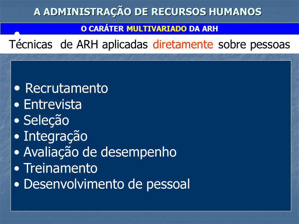 A ADMINISTRAÇÃO DE RECURSOS HUMANOS O CARÁTER MULTIVARIADO DA ARH Técnicas de ARH aplicadas diretamente sobre pessoas Recrutamento Entrevista Seleção