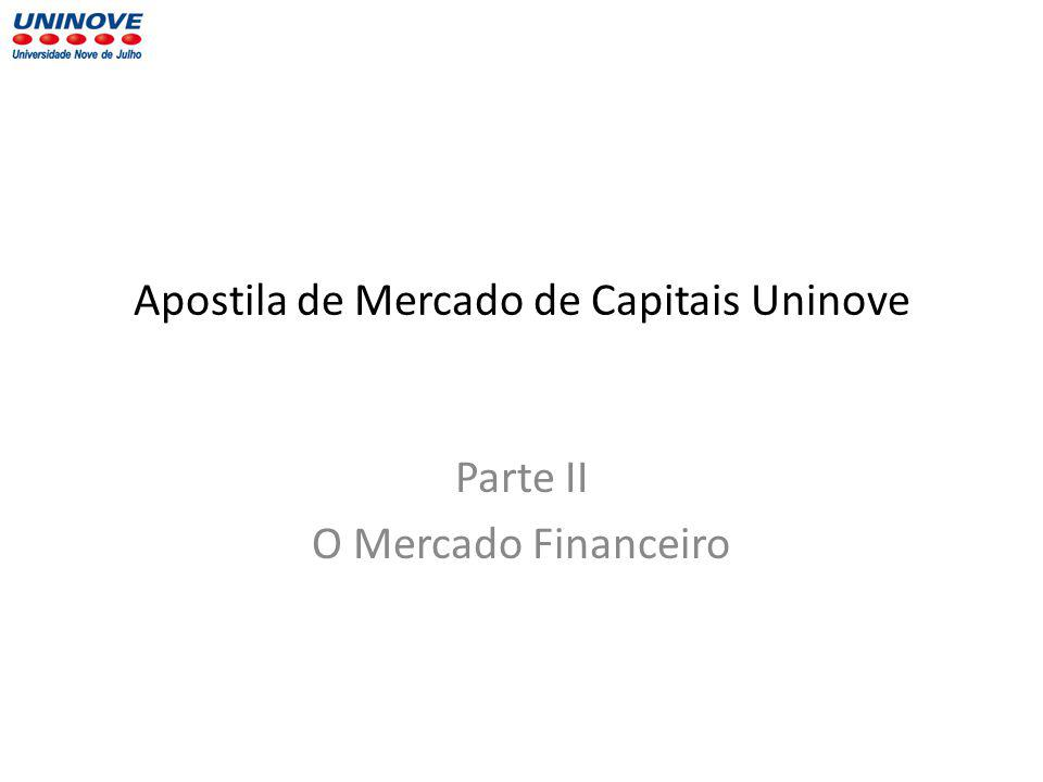 Apostila de Mercado de Capitais Uninove Parte II O Mercado Financeiro