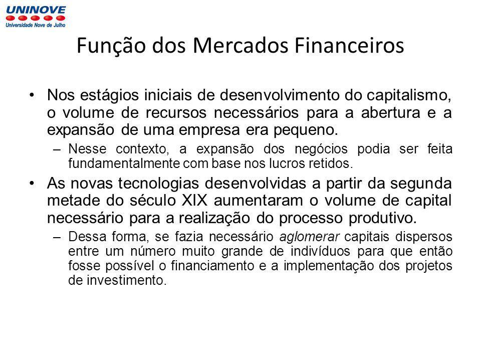 Função dos Mercados Financeiros Nos estágios iniciais de desenvolvimento do capitalismo, o volume de recursos necessários para a abertura e a expansão de uma empresa era pequeno.