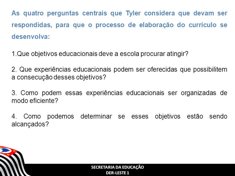 SECRETARIA DA EDUCAÇÃO DER-LESTE 1 As quatro perguntas centrais que Tyler considera que devam ser respondidas, para que o processo de elaboração do currículo se desenvolva: 1.Que objetivos educacionais deve a escola procurar atingir.
